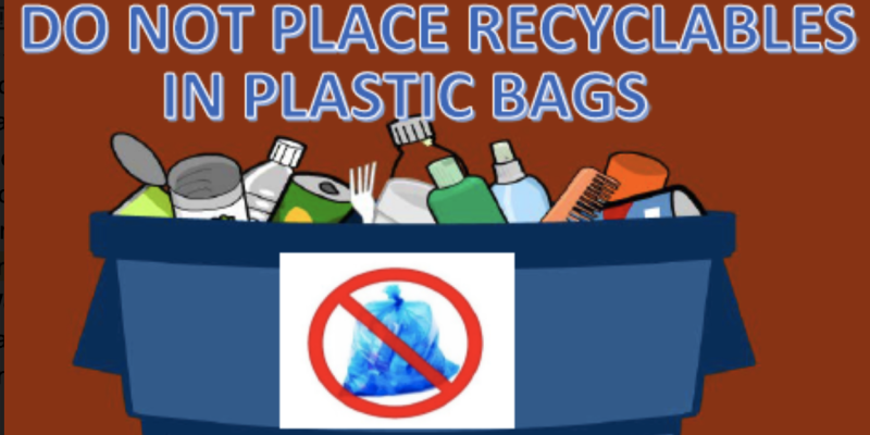 No plastic bags allowed in recycling buckets