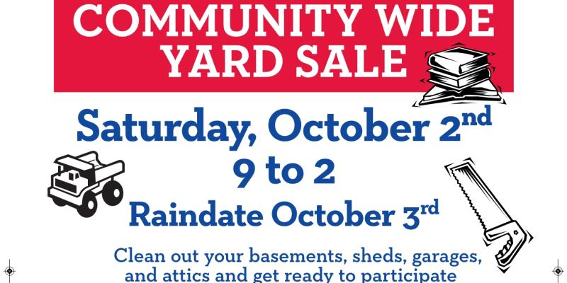 Town Wide Yard Sale October 2nd rain-date October 3rd